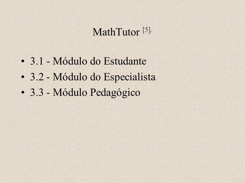 3.1 - Módulo do Estudante 3.2 - Módulo do Especialista 3.3 - Módulo Pedagógico