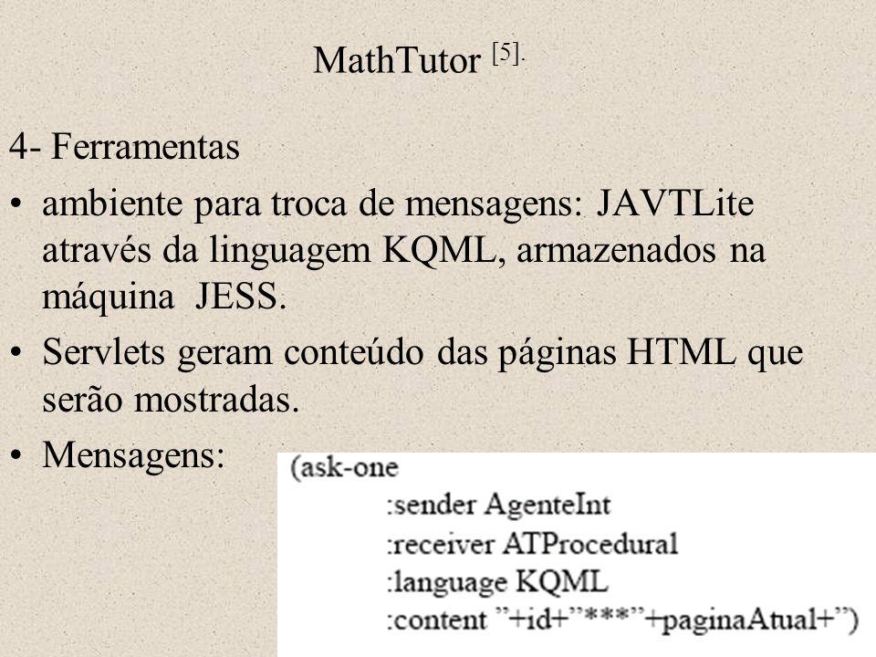 MathTutor [5]. 4- Ferramentas ambiente para troca de mensagens: JAVTLite através da linguagem KQML, armazenados na máquina JESS. Servlets geram conteú