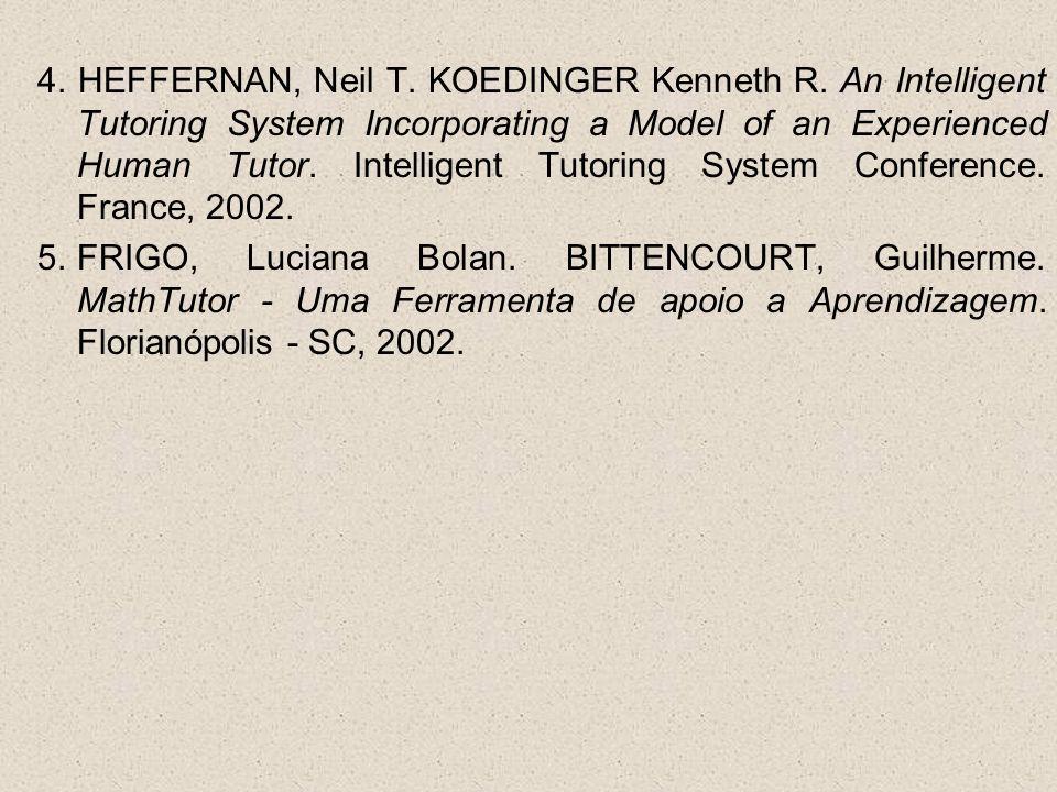 4. HEFFERNAN, Neil T. KOEDINGER Kenneth R. An Intelligent Tutoring System Incorporating a Model of an Experienced Human Tutor. Intelligent Tutoring Sy