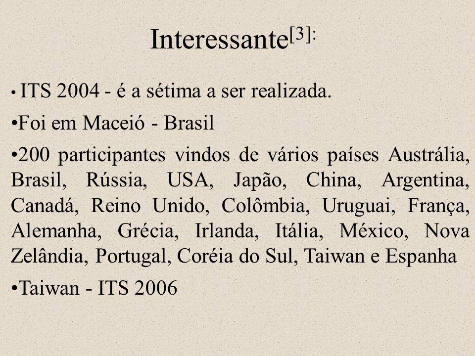 ITS 2004 - é a sétima a ser realizada. Foi em Maceió - Brasil 200 participantes vindos de vários países Austrália, Brasil, Rússia, USA, Japão, China,