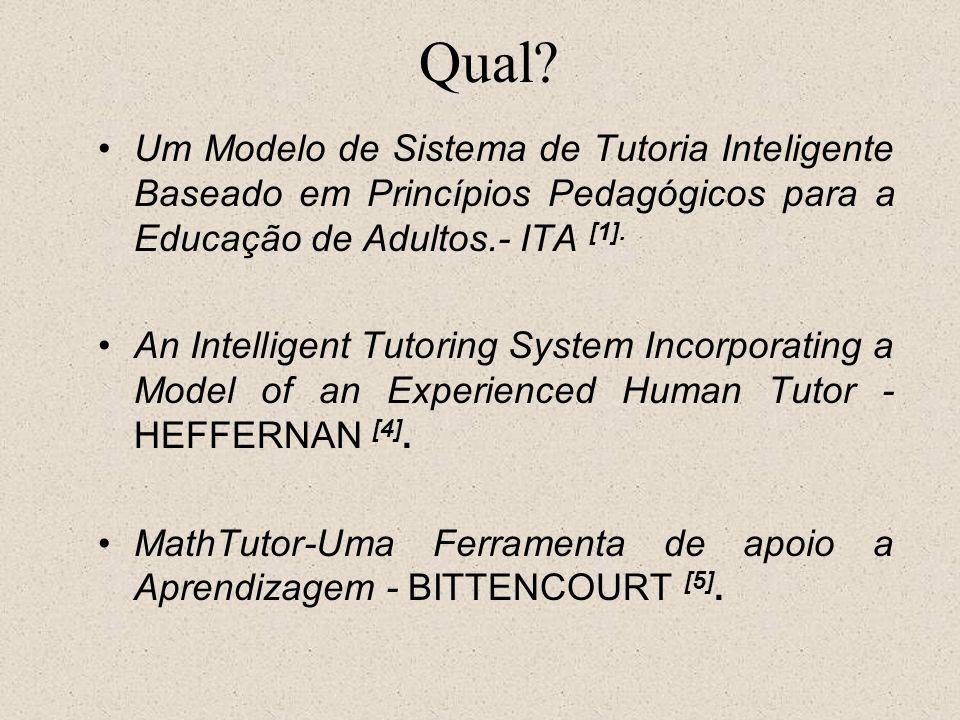 Qual? Um Modelo de Sistema de Tutoria Inteligente Baseado em Princípios Pedagógicos para a Educação de Adultos.- ITA [1]. An Intelligent Tutoring Syst
