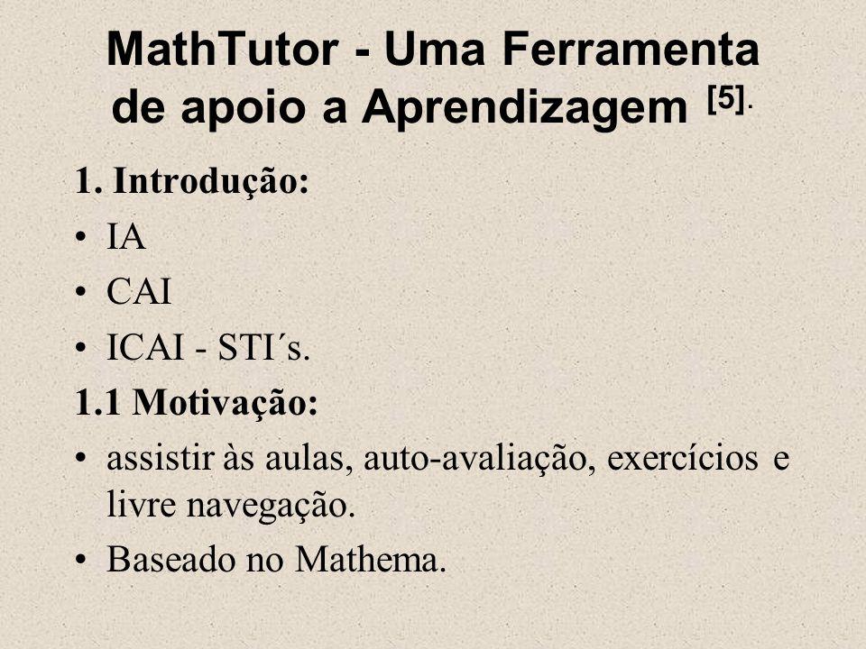 MathTutor - Uma Ferramenta de apoio a Aprendizagem [5]. 1. Introdução: IA CAI ICAI - STI´s. 1.1 Motivação: assistir às aulas, auto-avaliação, exercíci