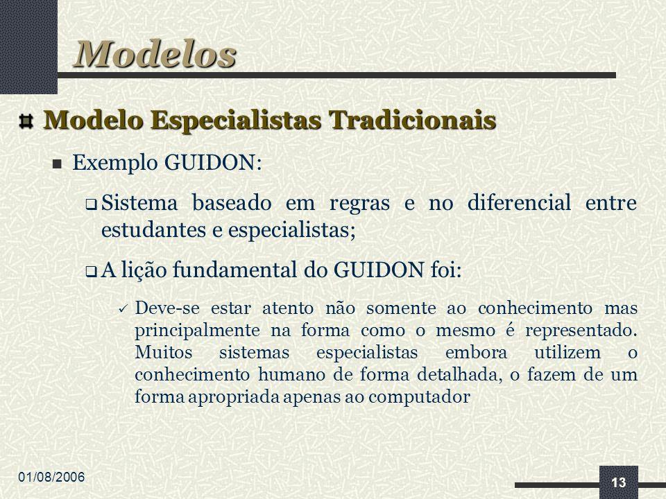01/08/2006 13 Modelo Especialistas Tradicionais Exemplo GUIDON: Sistema baseado em regras e no diferencial entre estudantes e especialistas; A lição fundamental do GUIDON foi: Deve-se estar atento não somente ao conhecimento mas principalmente na forma como o mesmo é representado.
