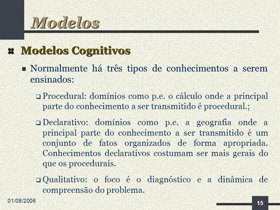 01/08/2006 15 Modelos Cognitivos Modelos Cognitivos Normalmente há três tipos de conhecimentos a serem ensinados: Procedural: domínios como p.e.