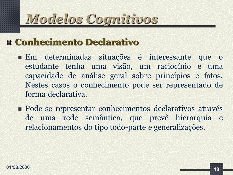 01/08/2006 18 Conhecimento Declarativo Em determinadas situações é interessante que o estudante tenha uma visão, um raciocínio e uma capacidade de análise geral sobre princípios e fatos.