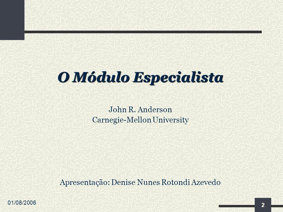 01/08/2006 2 O Módulo Especialista John R. Anderson Carnegie-Mellon University Apresentação: Denise Nunes Rotondi Azevedo