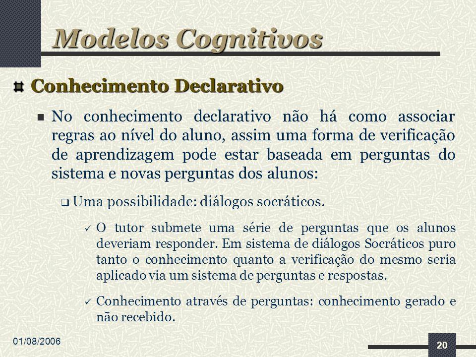 01/08/2006 20 Conhecimento Declarativo No conhecimento declarativo não há como associar regras ao nível do aluno, assim uma forma de verificação de ap
