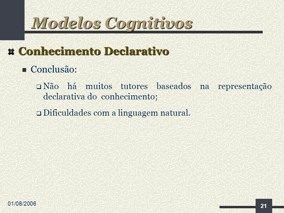 01/08/2006 21 Conhecimento Declarativo Conclusão: Não há muitos tutores baseados na representação declarativa do conhecimento; Dificuldades com a linguagem natural.