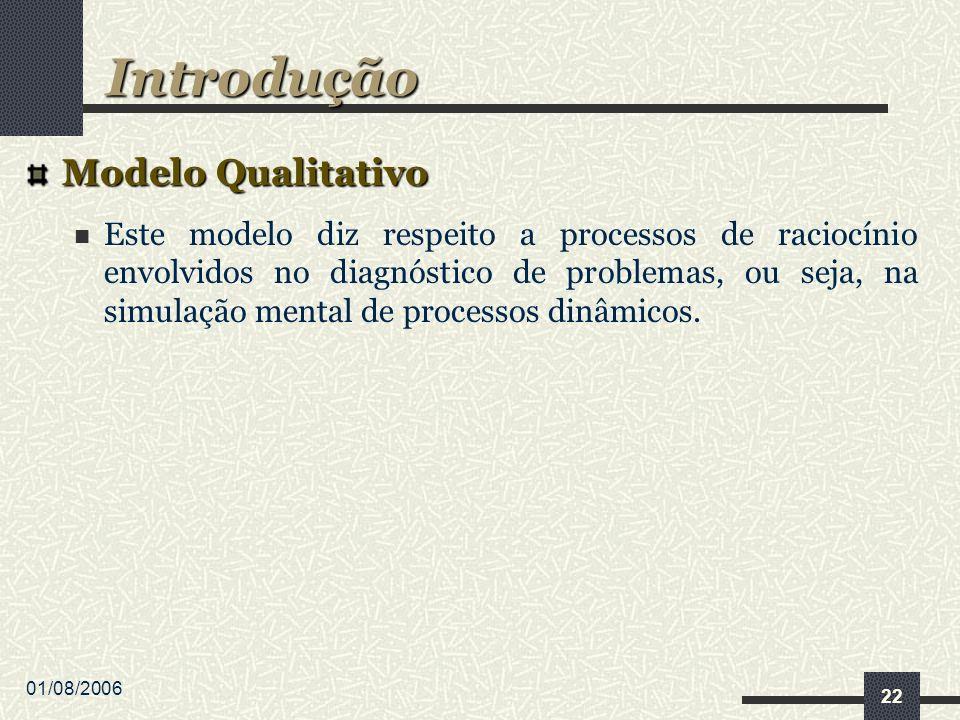 01/08/2006 22 Modelo Qualitativo Este modelo diz respeito a processos de raciocínio envolvidos no diagnóstico de problemas, ou seja, na simulação mental de processos dinâmicos.
