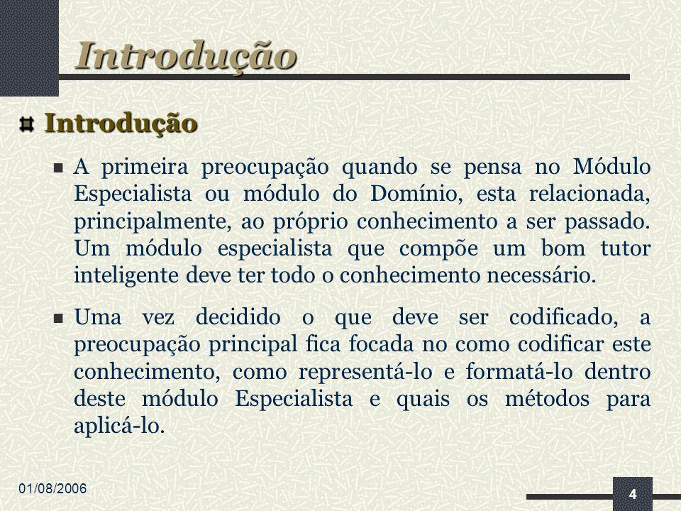 01/08/2006 4 Introdução A primeira preocupação quando se pensa no Módulo Especialista ou módulo do Domínio, esta relacionada, principalmente, ao próprio conhecimento a ser passado.