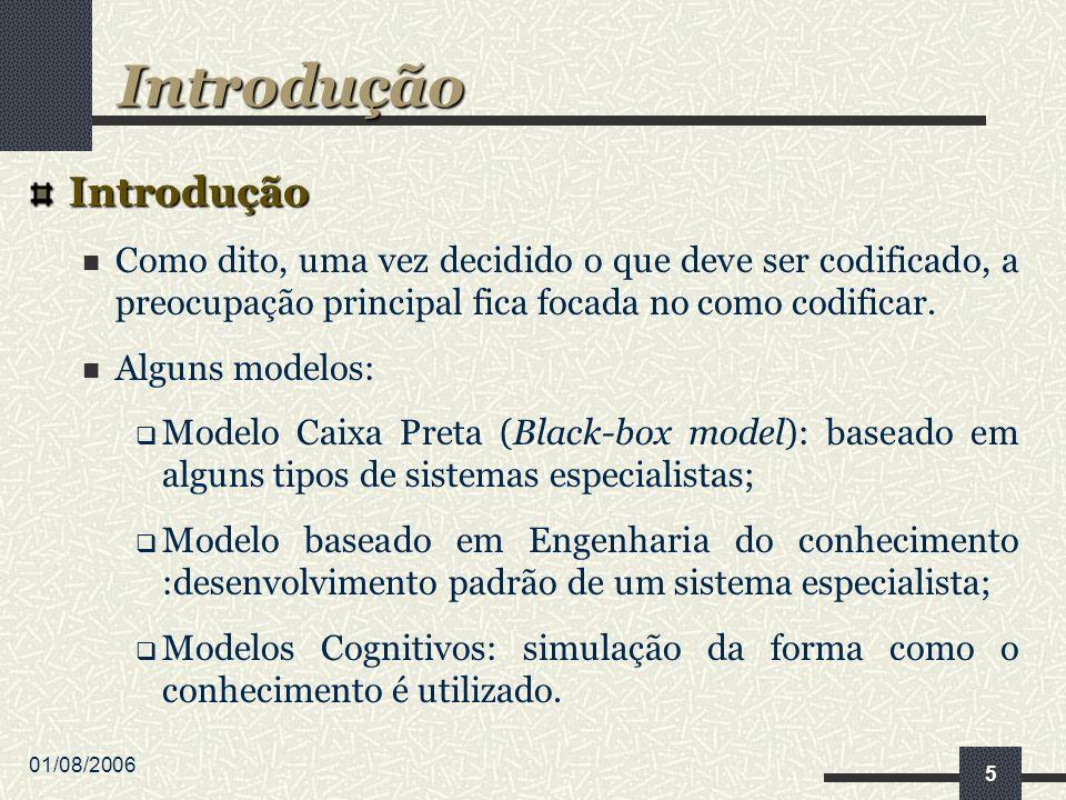 01/08/2006 5 Introdução Como dito, uma vez decidido o que deve ser codificado, a preocupação principal fica focada no como codificar. Alguns modelos: