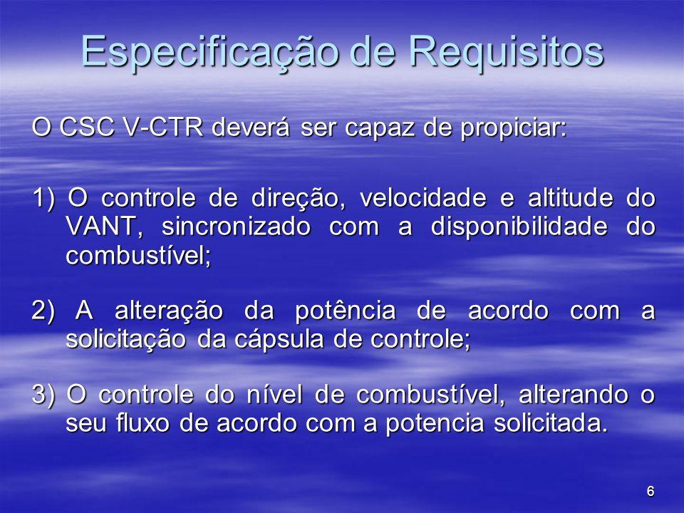 6 Especificação de Requisitos O CSC V-CTR deverá ser capaz de propiciar: 1) O controle de direção, velocidade e altitude do VANT, sincronizado com a disponibilidade do combustível; 2) A alteração da potência de acordo com a solicitação da cápsula de controle; 3) O controle do nível de combustível, alterando o seu fluxo de acordo com a potencia solicitada.