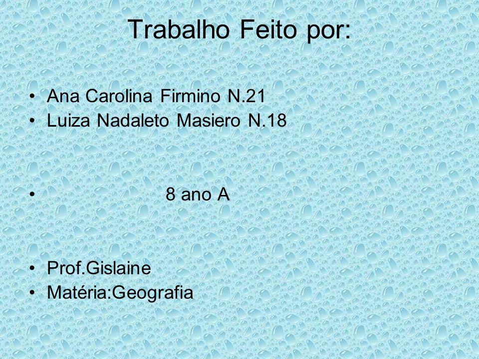 Trabalho Feito por: Ana Carolina Firmino N.21 Luiza Nadaleto Masiero N.18 8 ano A Prof.Gislaine Matéria:Geografia