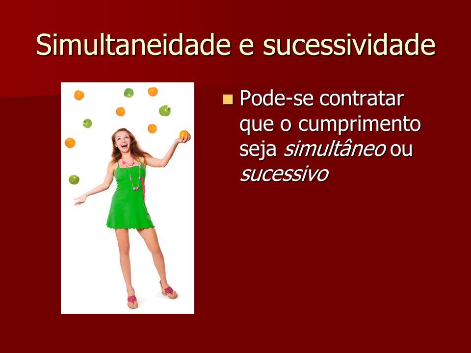 Simultaneidade e sucessividade Pode-se contratar que o cumprimento seja simultâneo ou sucessivo Pode-se contratar que o cumprimento seja simultâneo ou