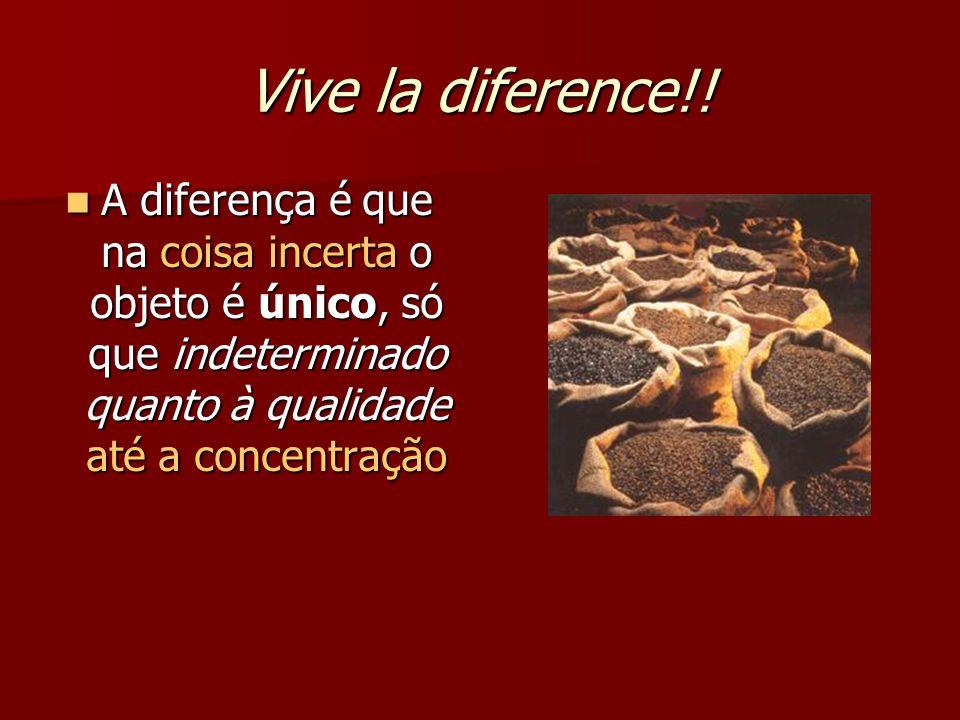 Vive la diference!! A diferença é que na coisa incerta o objeto é único, só que indeterminado quanto à qualidade até a concentração A diferença é que