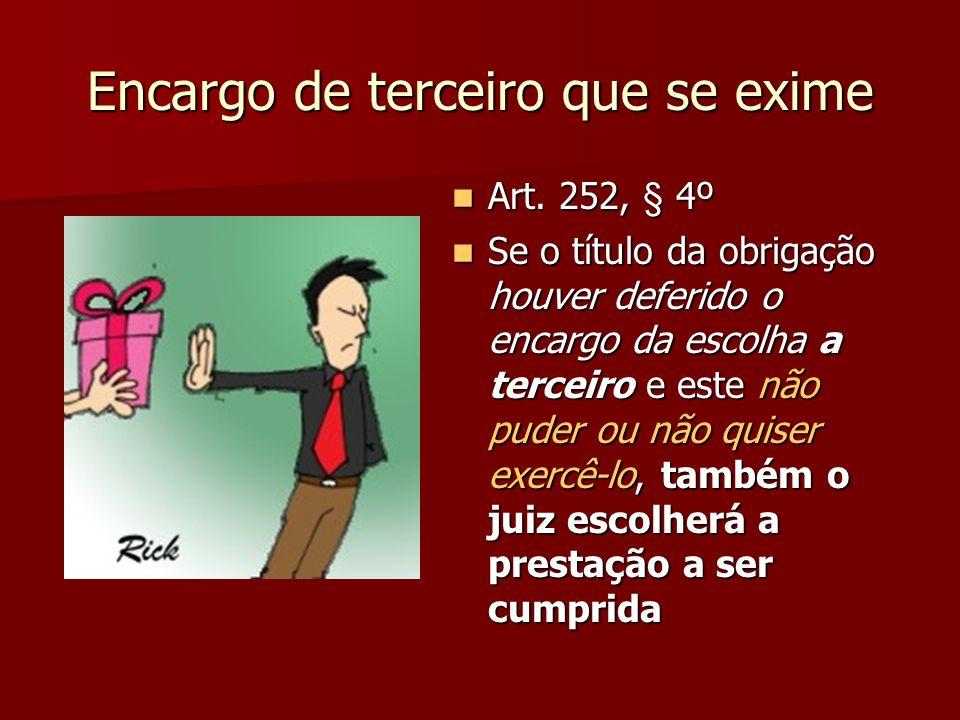 Encargo de terceiro que se exime Art. 252, § 4º Art. 252, § 4º Se o título da obrigação houver deferido o encargo da escolha a terceiro e este não pud