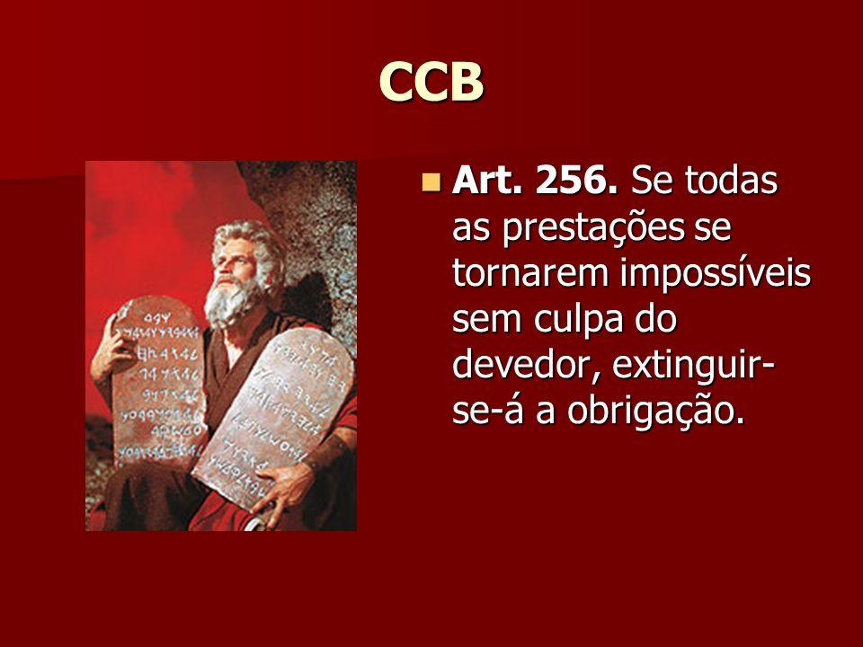 CCB Art. 256. Se todas as prestações se tornarem impossíveis sem culpa do devedor, extinguir- se-á a obrigação. Art. 256. Se todas as prestações se to