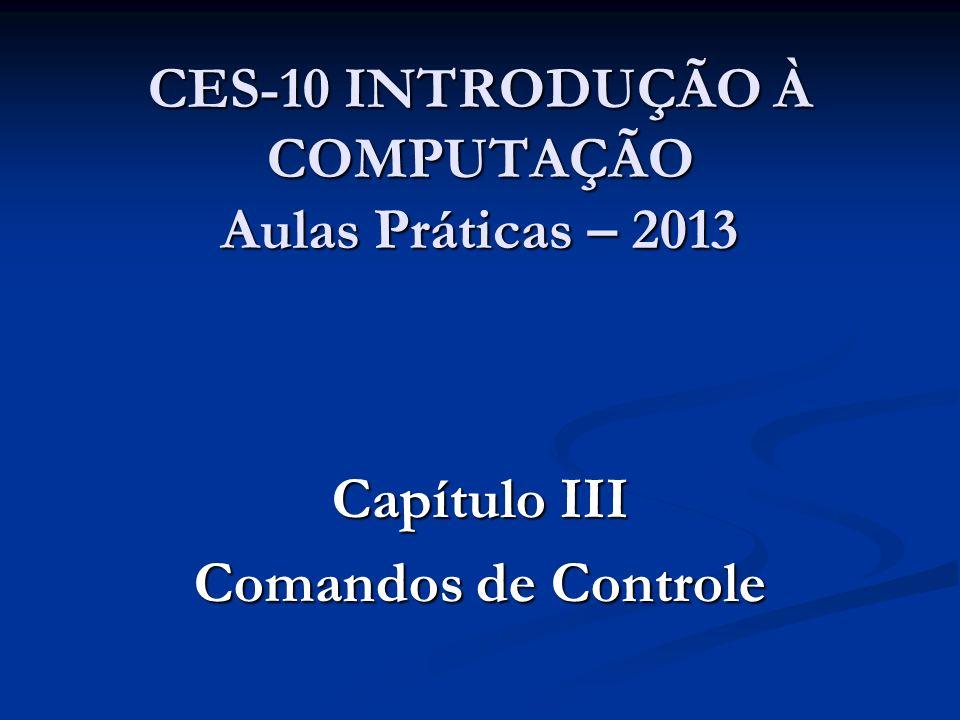 CES-10 INTRODUÇÃO À COMPUTAÇÃO Aulas Práticas – 2013 Capítulo III Comandos de Controle