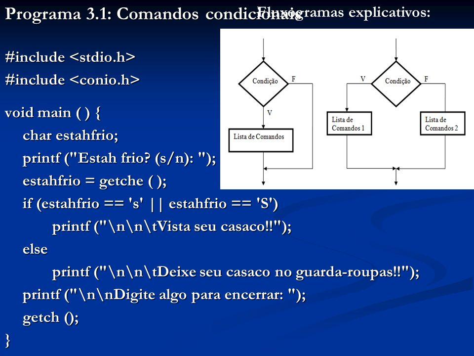 Programa 3.1: Comandos condicionais #include #include void main ( ) { char estahfrio; printf ( Estah frio.