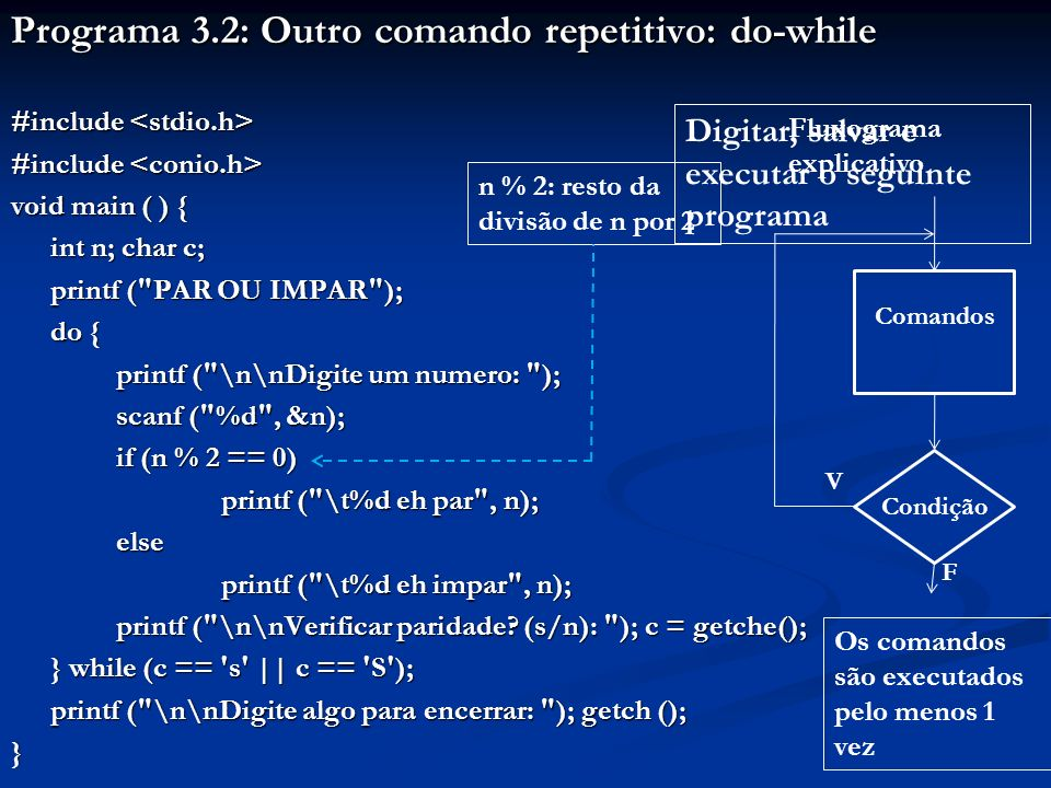 Programa 3.2: Outro comando repetitivo: do-while #include #include void main ( ) { int n; char c; printf ( PAR OU IMPAR ); do { printf ( \n\nDigite um numero: ); printf ( \n\nDigite um numero: ); scanf ( %d , &n); scanf ( %d , &n); if (n % 2 == 0) printf ( \t%d eh par , n); else printf ( \t%d eh impar , n); printf ( \n\nVerificar paridade.