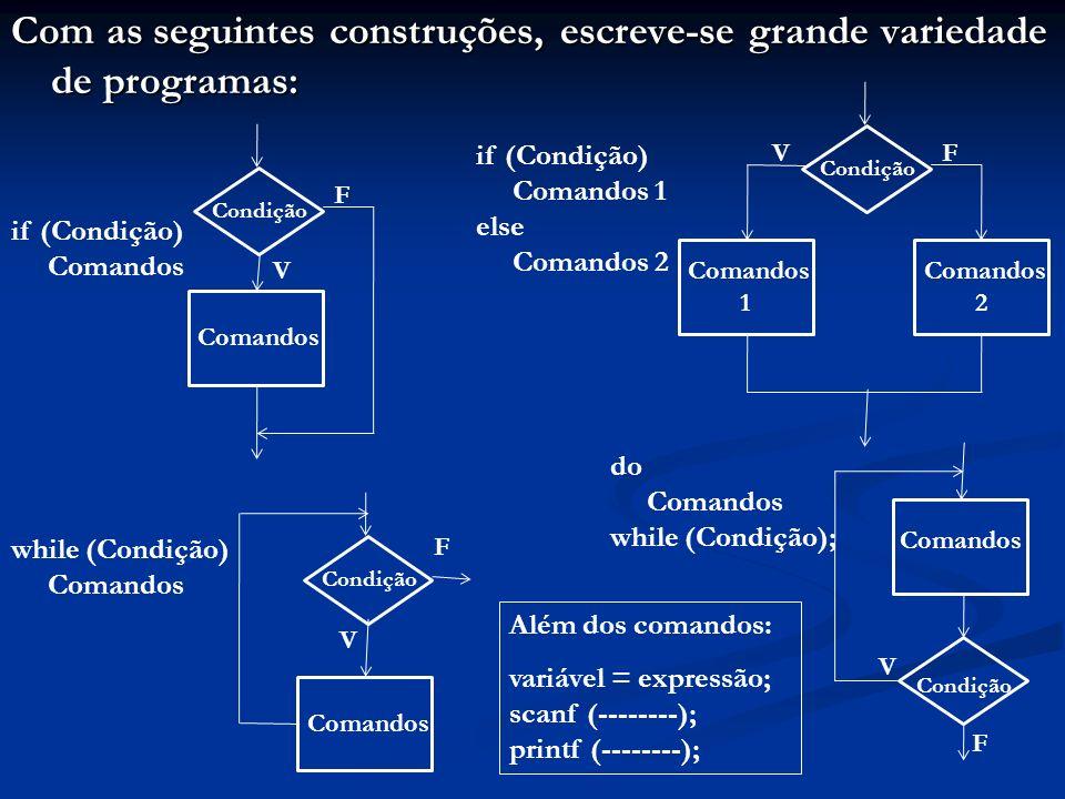 Com as seguintes construções, escreve-se grande variedade de programas: Comandos Condição V F do Comandos while (Condição); Comandos Condição V F while (Condição) Comandos Comandos 2 Condição VF Comandos 1 Condição V F Comandos if (Condição) Comandos if (Condição) Comandos 1 else Comandos 2 Além dos comandos: variável = expressão; scanf (--------); printf (--------);