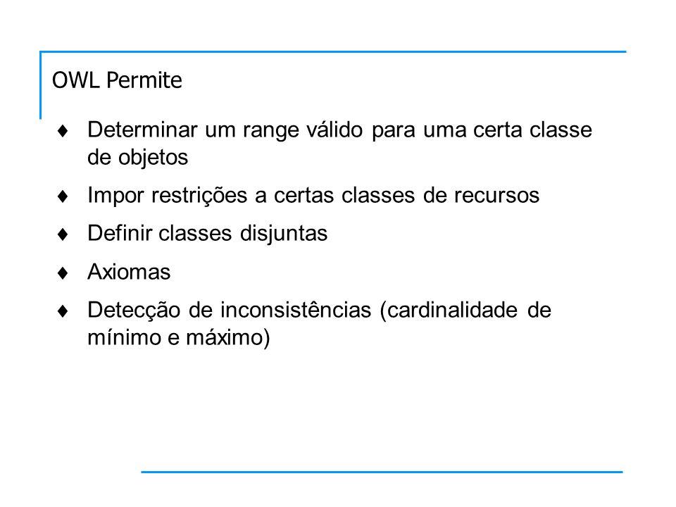 Determinar um range válido para uma certa classe de objetos Impor restrições a certas classes de recursos Definir classes disjuntas Axiomas Detecção de inconsistências (cardinalidade de mínimo e máximo) OWL Permite