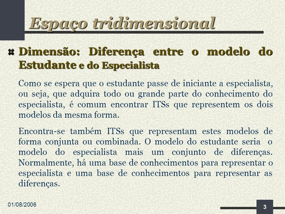 01/08/2006 3 Dimensão: Diferença entre o modelo do Estudante e do Especialista Como se espera que o estudante passe de iniciante a especialista, ou seja, que adquira todo ou grande parte do conhecimento do especialista, é comum encontrar ITSs que representem os dois modelos da mesma forma.
