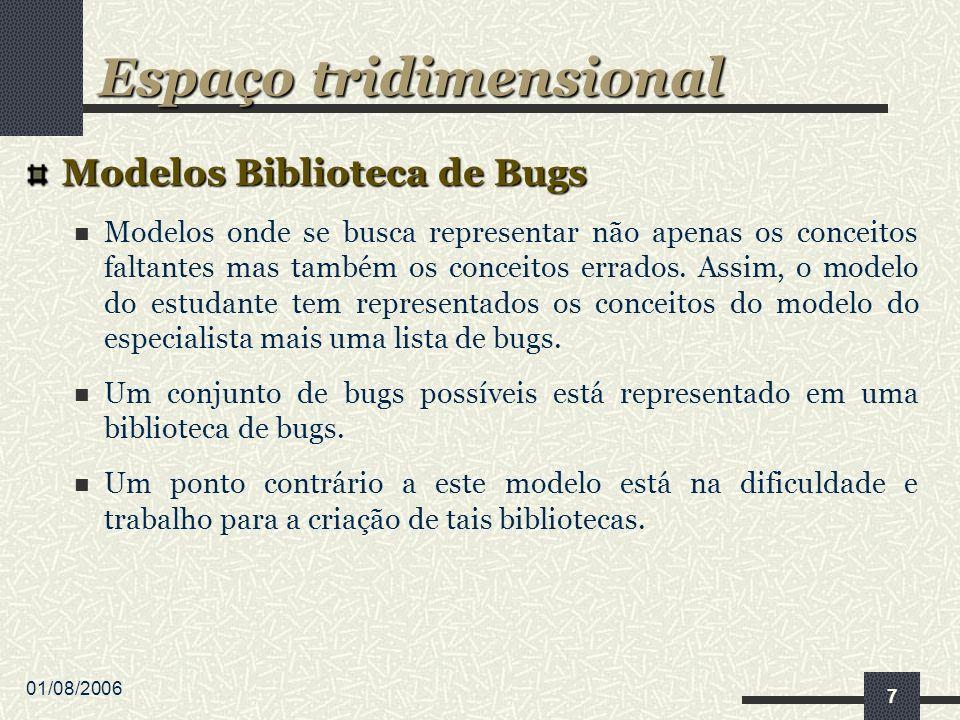 01/08/2006 7 Modelos Biblioteca de Bugs Modelos onde se busca representar não apenas os conceitos faltantes mas também os conceitos errados.