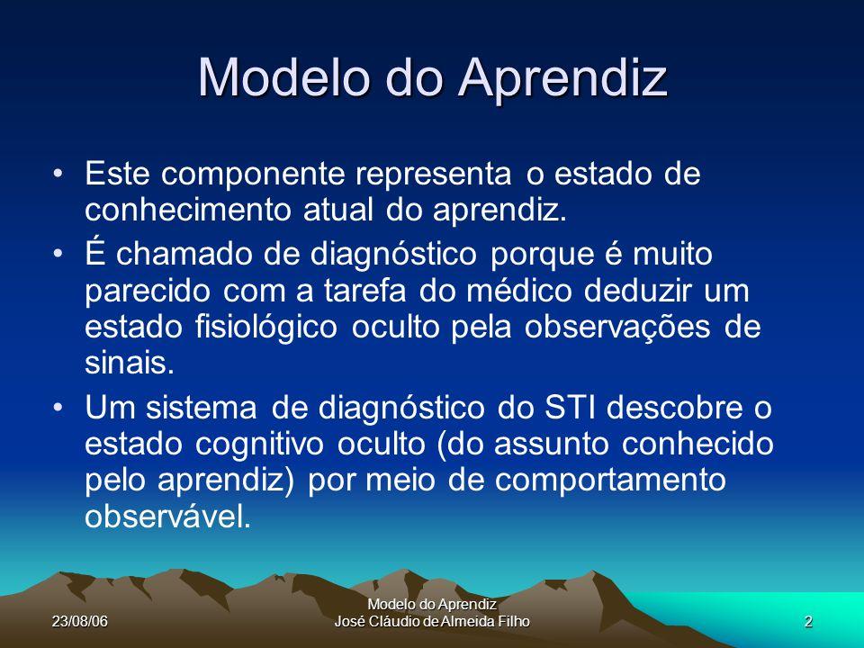 23/08/06 Modelo do Aprendiz José Cláudio de Almeida Filho3 Modelo do Aprendiz O modelo do aprendiz e o módulo de diagnóstico estão firmemente definidos.