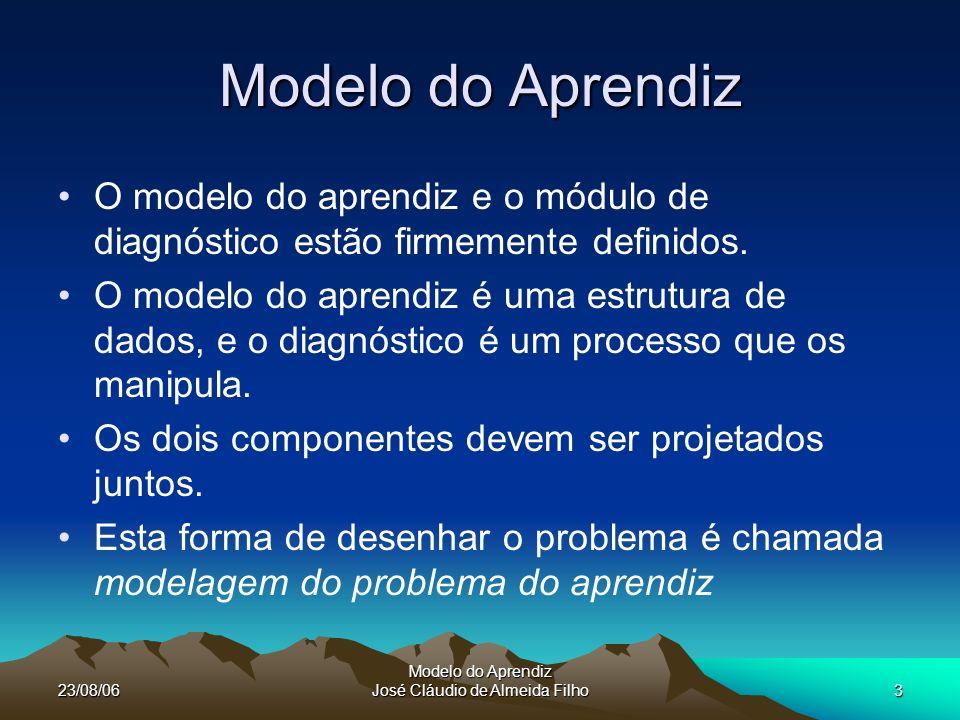 23/08/06 Modelo do Aprendiz José Cláudio de Almeida Filho4 O aprendiz modelando o problema A maioria dos problemas na ciência da computação podem ser especificados descrevendo e avaliando as entradas e a saída desejada.