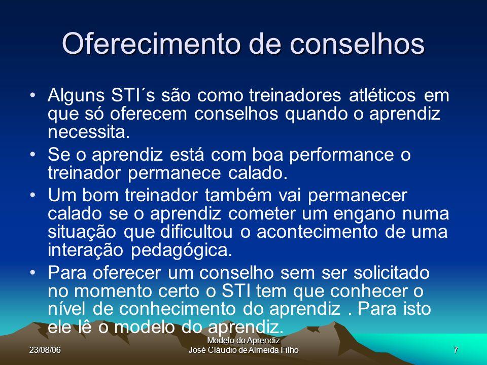 23/08/06 Modelo do Aprendiz José Cláudio de Almeida Filho7 Oferecimento de conselhos Alguns STI´s são como treinadores atléticos em que só oferecem conselhos quando o aprendiz necessita.