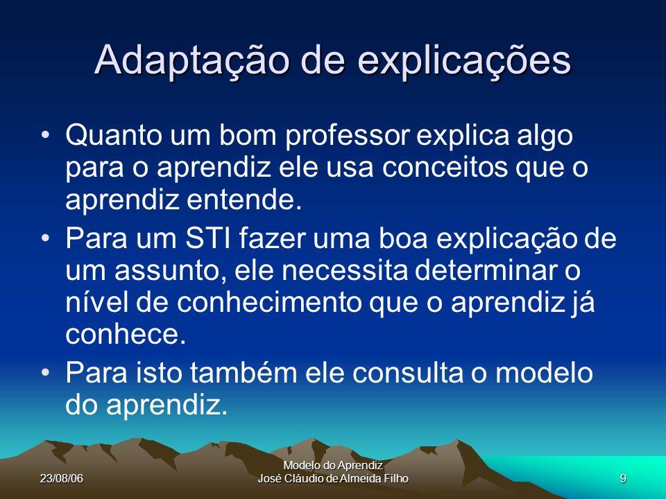 23/08/06 Modelo do Aprendiz José Cláudio de Almeida Filho9 Adaptação de explicações Quanto um bom professor explica algo para o aprendiz ele usa conceitos que o aprendiz entende.