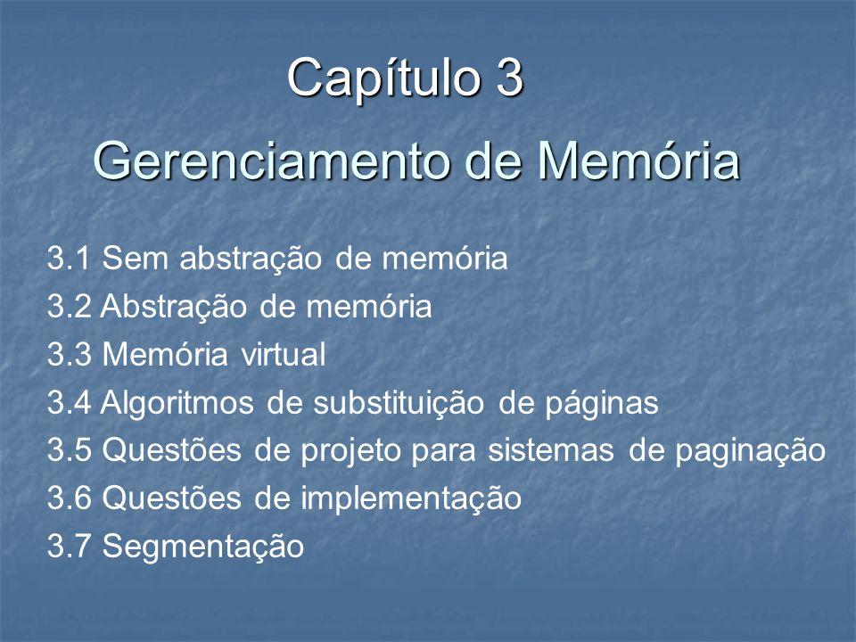 Gerenciamento de Memória Capítulo 3 3.1 Sem abstração de memória 3.2 Abstração de memória 3.3 Memória virtual 3.4 Algoritmos de substituição de página