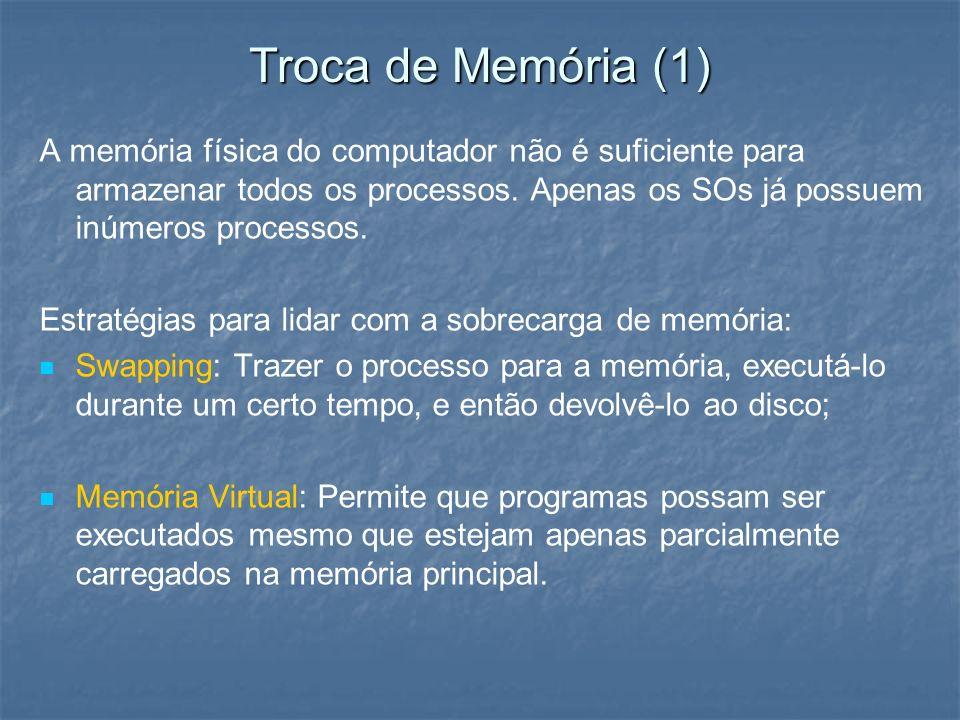 Troca de Memória (1) A memória física do computador não é suficiente para armazenar todos os processos. Apenas os SOs já possuem inúmeros processos. E