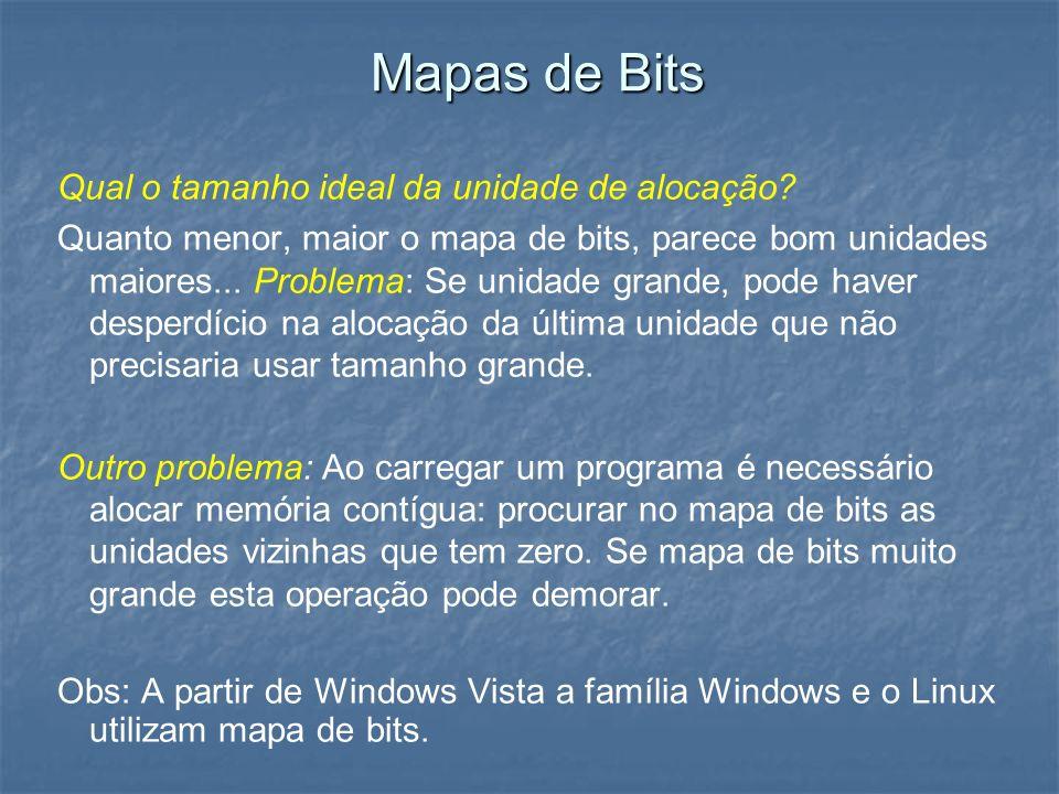 Mapas de Bits Qual o tamanho ideal da unidade de alocação? Quanto menor, maior o mapa de bits, parece bom unidades maiores... Problema: Se unidade gra