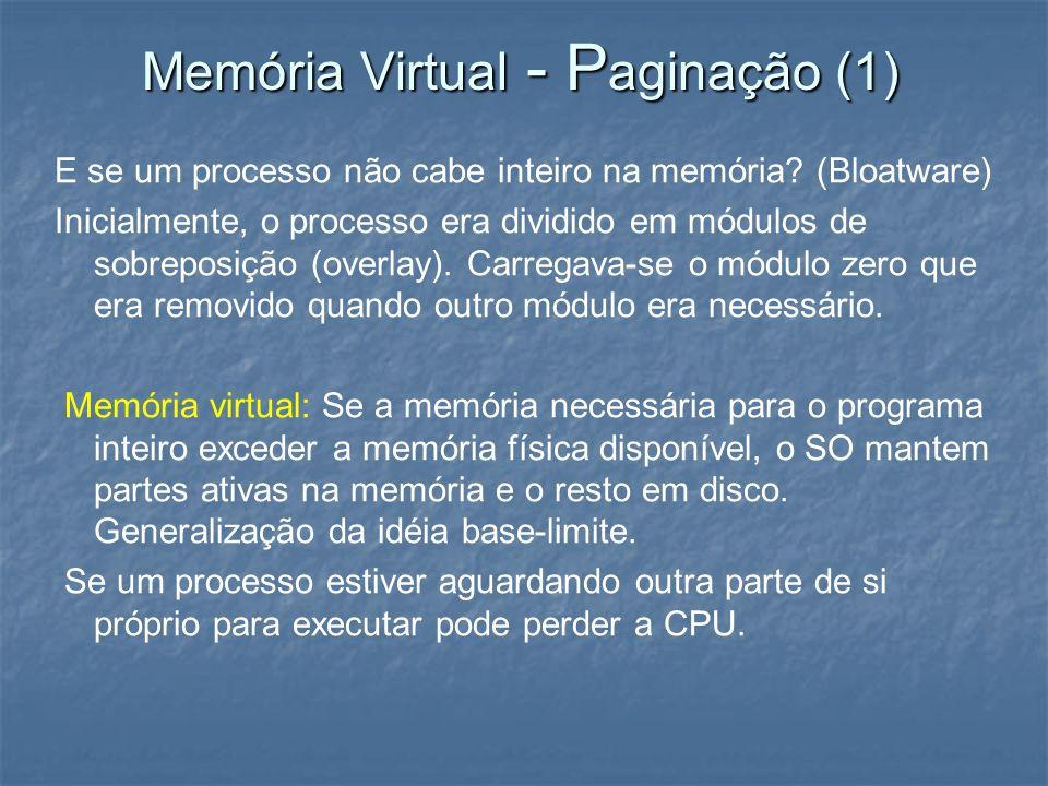 Memória Virtual - P aginação (1) E se um processo não cabe inteiro na memória? (Bloatware) Inicialmente, o processo era dividido em módulos de sobrepo