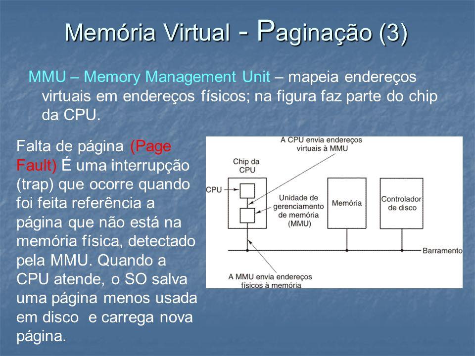 Memória Virtual - P aginação (3) MMU – Memory Management Unit – mapeia endereços virtuais em endereços físicos; na figura faz parte do chip da CPU. Fa