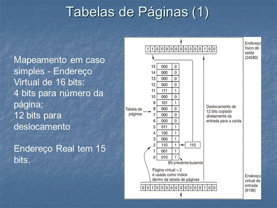 Tabelas de Páginas (1) Mapeamento em caso simples - Endereço Virtual de 16 bits: 4 bits para número da página; 12 bits para deslocamento Endereço Real