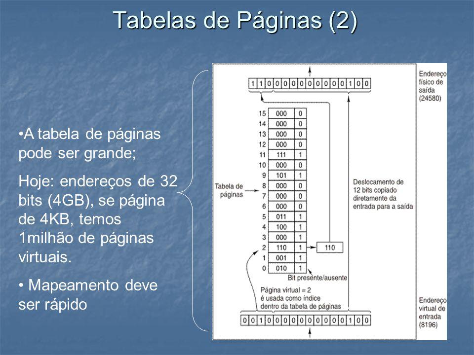 Tabelas de Páginas (2) A tabela de páginas pode ser grande; Hoje: endereços de 32 bits (4GB), se página de 4KB, temos 1milhão de páginas virtuais. Map