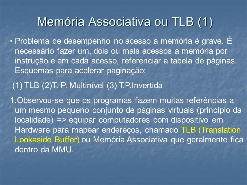 Memória Associativa ou TLB (1) Problema de desempenho no acesso a memória é grave. É necessário fazer um, dois ou mais acessos a memória por instrução