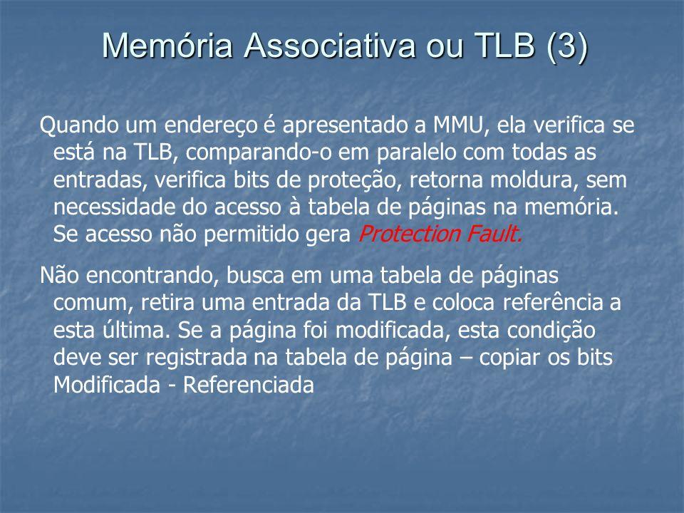 Memória Associativa ou TLB (3) Quando um endereço é apresentado a MMU, ela verifica se está na TLB, comparando-o em paralelo com todas as entradas, ve