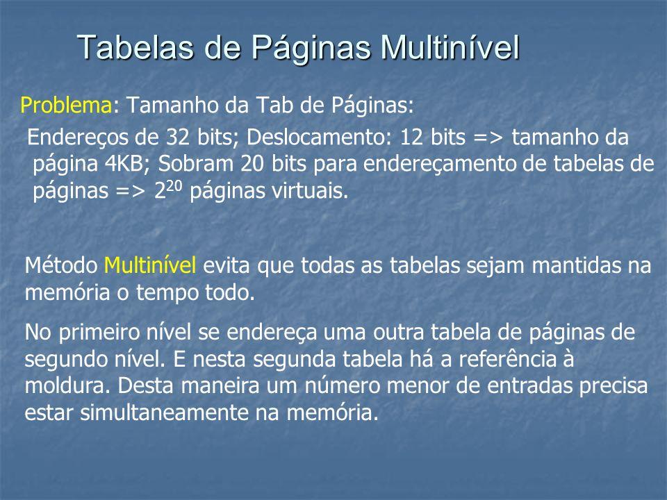 Tabelas de Páginas Multinível Problema: Tamanho da Tab de Páginas: Endereços de 32 bits; Deslocamento: 12 bits => tamanho da página 4KB; Sobram 20 bit