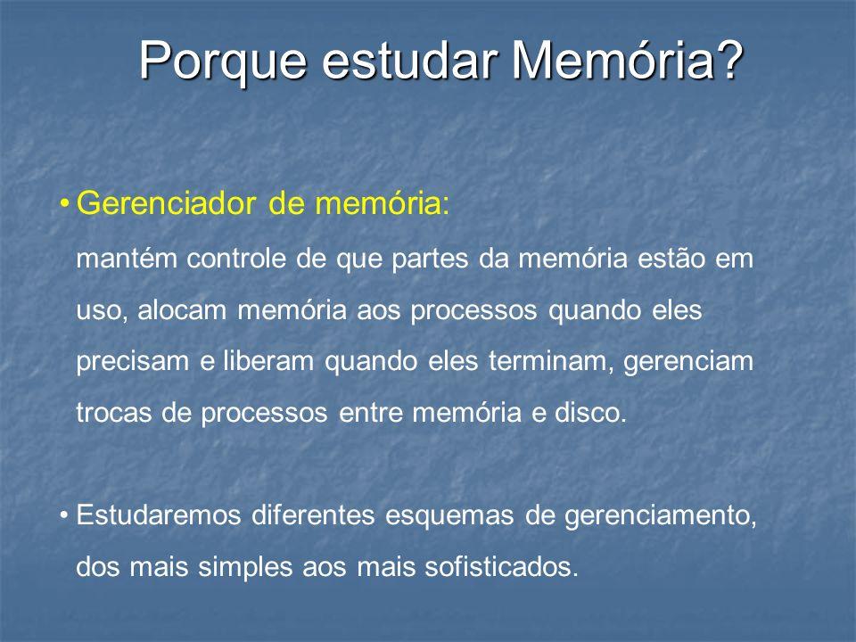 Porque estudar Memória? Gerenciador de memória: mantém controle de que partes da memória estão em uso, alocam memória aos processos quando eles precis