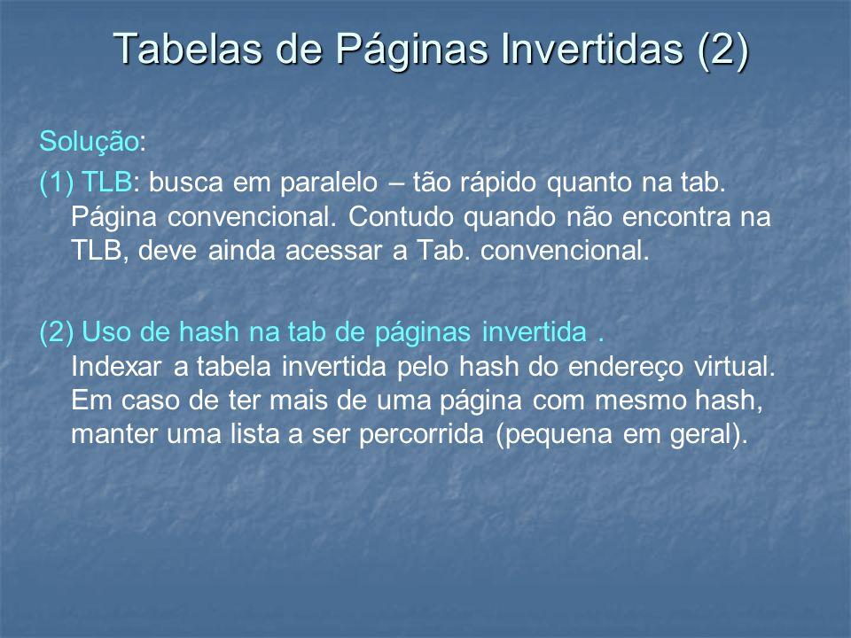 Tabelas de Páginas Invertidas (2) Solução: (1) TLB: busca em paralelo – tão rápido quanto na tab. Página convencional. Contudo quando não encontra na