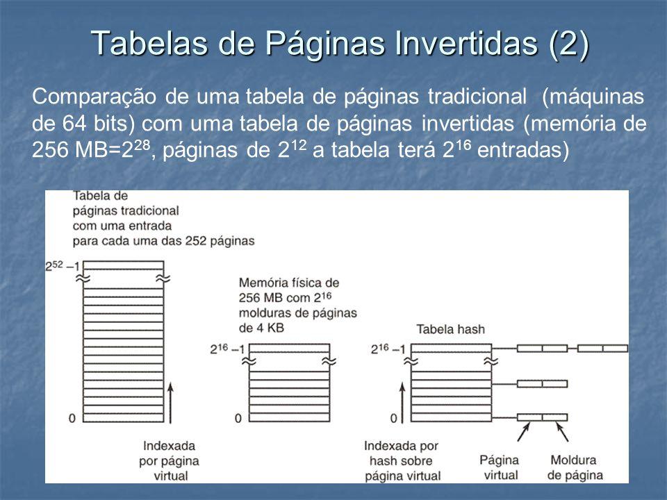Tabelas de Páginas Invertidas (2) Comparação de uma tabela de páginas tradicional (máquinas de 64 bits) com uma tabela de páginas invertidas (memória