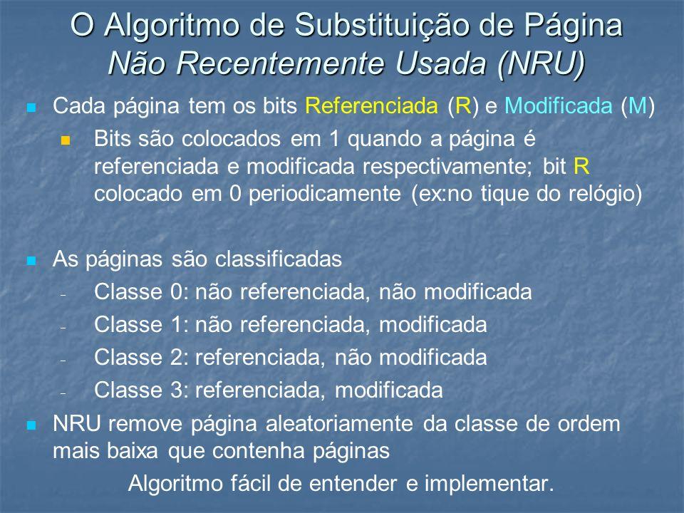 O Algoritmo de Substituição de Página Não Recentemente Usada (NRU) Cada página tem os bits Referenciada (R) e Modificada (M) Bits são colocados em 1 q