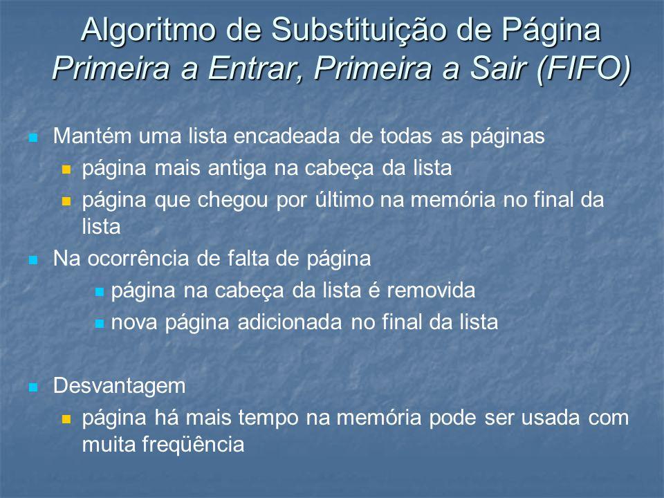 Algoritmo de Substituição de Página Primeira a Entrar, Primeira a Sair (FIFO) Mantém uma lista encadeada de todas as páginas página mais antiga na cab