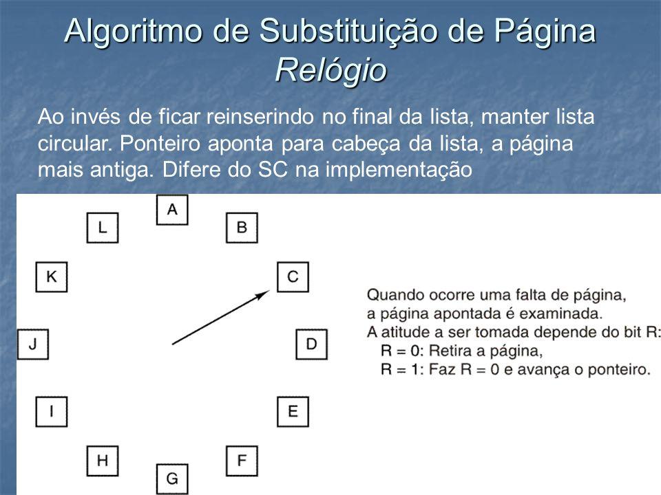 Algoritmo de Substituição de Página Relógio Ao invés de ficar reinserindo no final da lista, manter lista circular. Ponteiro aponta para cabeça da lis