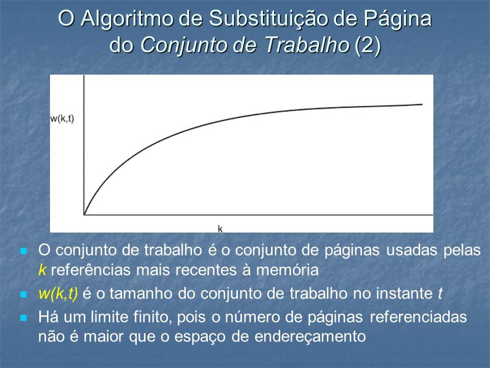 O Algoritmo de Substituição de Página do Conjunto de Trabalho (2) O conjunto de trabalho é o conjunto de páginas usadas pelas k referências mais recen