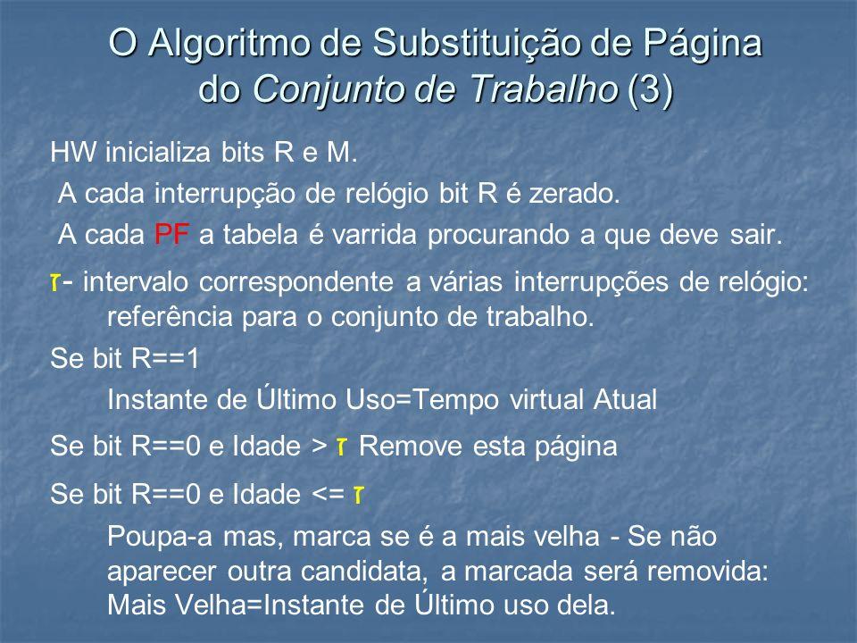 O Algoritmo de Substituição de Página do Conjunto de Trabalho (3) HW inicializa bits R e M. A cada interrupção de relógio bit R é zerado. A cada PF a